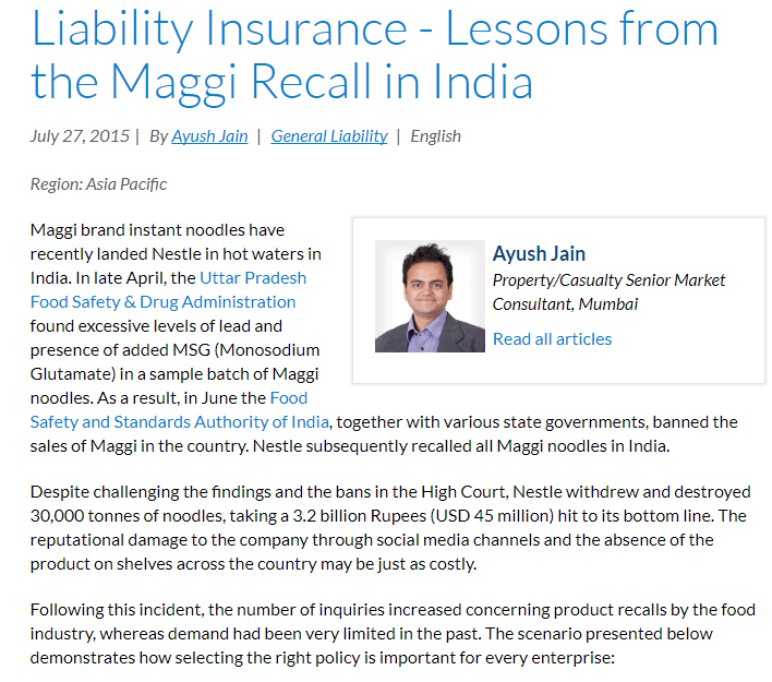 Case Study : Business Liability Insurance Maggi Noodles India