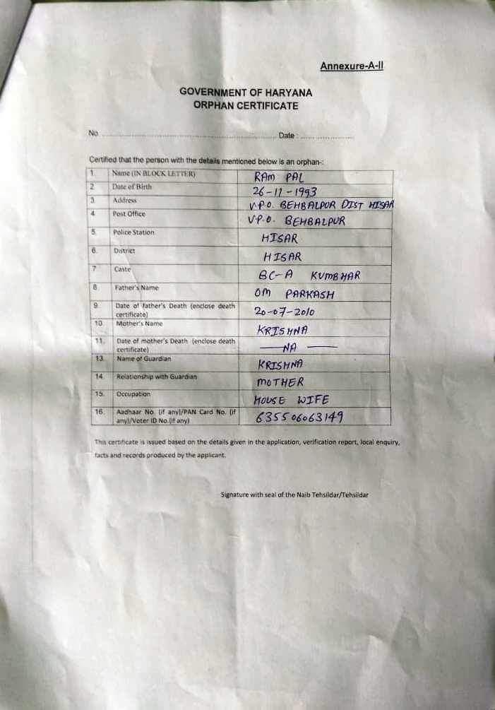 Orphan Certificate Format In Hindi Haryana 1