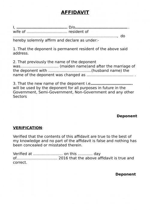 Name Change After Marriage Affidavit Format India
